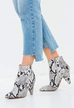 Missguided Gray Snakeskin Print Ankle Boots