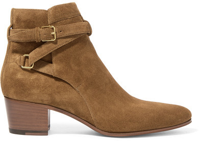 Saint Laurent - Blake Suede Ankle Boots - Tan