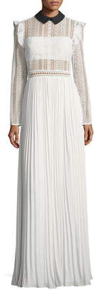 Self-Portrait Self Portrait Long-Sleeve Paneled Lace Maxi Dress