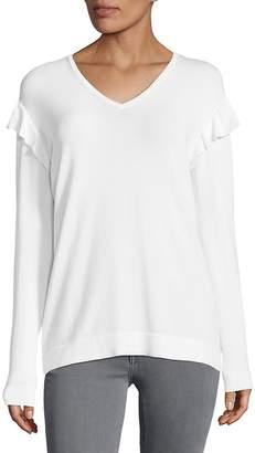 Calvin Klein Women's V-neck Ruffle Sweater