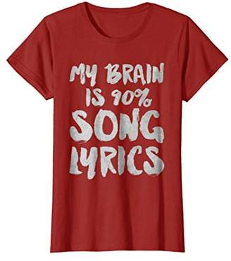 My Brain Is 90% Song Lyrics T-Shirt Funny Cool Musician Gift