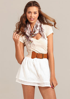 Eyelet Double-Layer Skirt