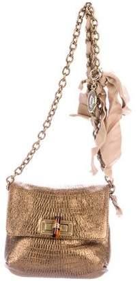 Lanvin Metallic Embossed Leather Shoulder Bag