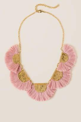 francesca's Ellen Statement Tassel Necklace in Blush - Blush