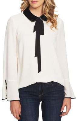CeCe Velvet Petals Long-Sleeve Top