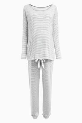 91e86283f8285 Next Womens Grey Stripe Maternity Tie Pyjamas - Grey