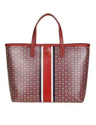 Tory Burch Gemini Small Bag In Fabric And Leather Color Red