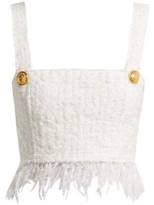 Balmain Fringed Tweed Crop Top - Womens - White