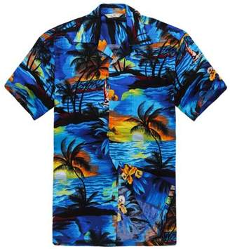 Hawaii Hangover Men's Hawaiian Shirt Aloha Shirt S Sunset Blue