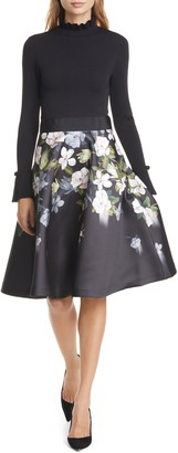Ted Baker Nerida Opal Mixed Media Long Sleeve Fit & Flare Dress