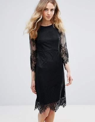 Ichi Lace Dress With Scalloped Hem