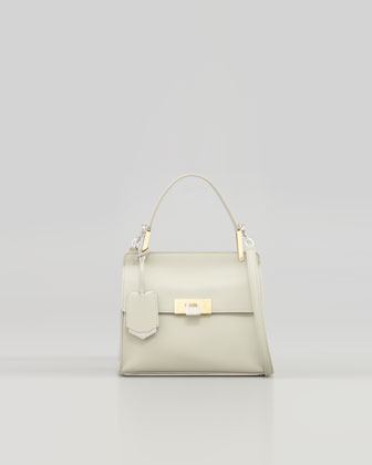Balenciaga Le Dix Cartable Flap Satchel Bag, Ivory