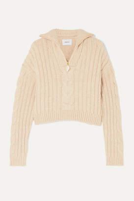 Nanushka Eria Cropped Faux Pearl-embellished Cable-knit Sweater - Beige