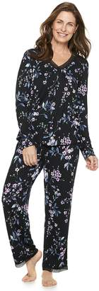 Croft & Barrow Women's Lace Trim Tee & Pants Pajama Set