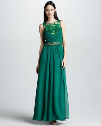 Mandalay Sleeveless Gown with Beaded Belt