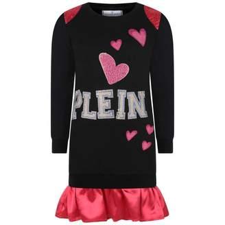 Philipp Plein Philipp PleinGirls Black & Pink Diamante Heart Dress