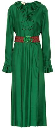 Gucci Belted silk dress
