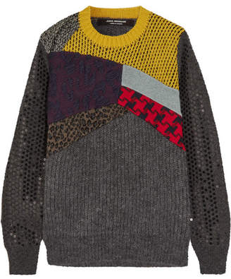 Patchwork Sequined Wool-blend Sweater - Dark gray