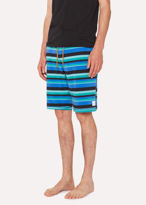 Paul Smith Men's Blue And Green Stripe Jersey Cotton Lounge Shorts