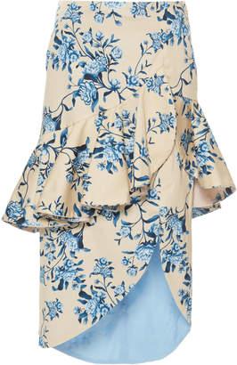 Johanna Ortiz Entre Dos Aguas Floral Cotton Sateen Skirt