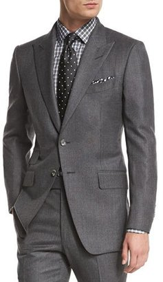 TOM FORD O'Connor Base Mini-Textured Two-Piece Suit, Gray $4,760 thestylecure.com