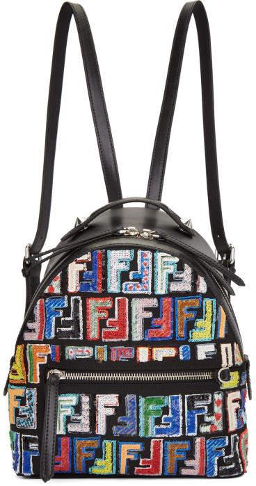 Fendi Black Mini Logo Zaino Backpack