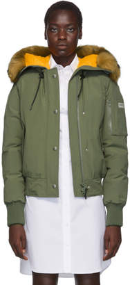Kenzo Green Down Faux-Fur Hooded Jacket