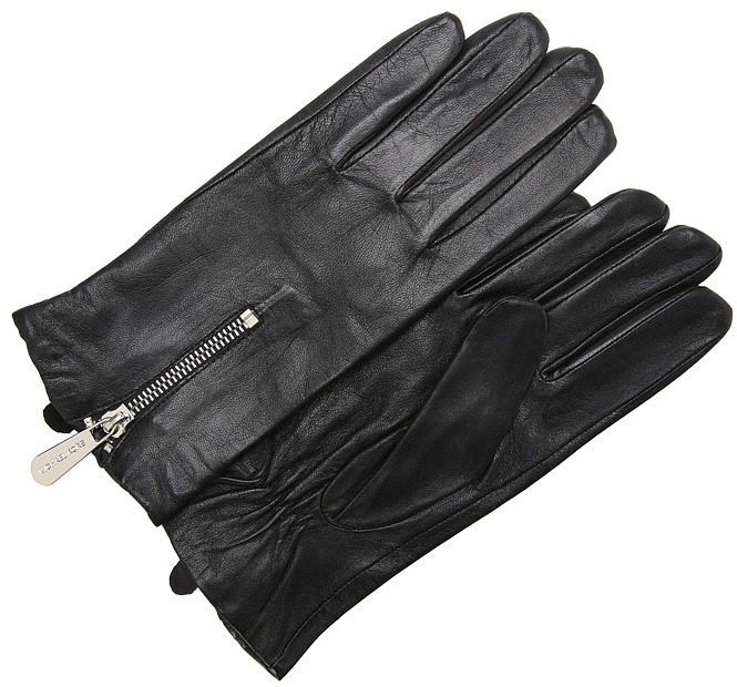 MICHAEL Michael Kors Michael Kors Leather Glove With Mk Zipper And Gusset (Black) - Accessories