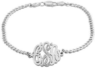 Rylos Monogram Diamond Bracelet Personalized 20mm Sterling Silver or Gold Plated Silver