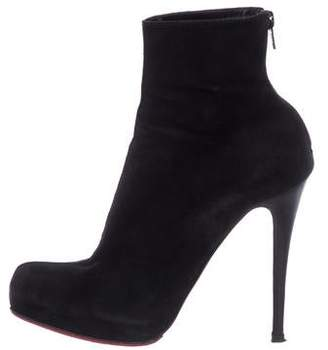 Christian Louboutin Suede Semi Pointed-Toe Ankle Boots