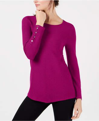 Alfani Petite Ribbed Snap-Detail Sweater