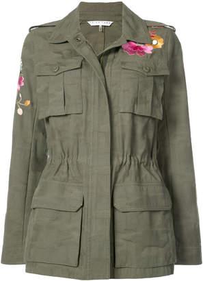 Trina Turk floral appliqué military cargo jacket