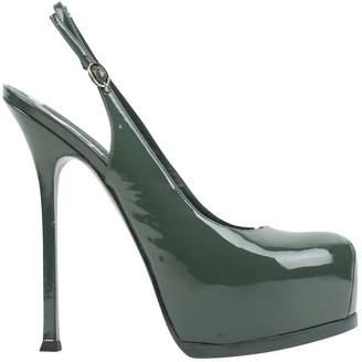 Saint Laurent Trib Too Green Patent leather Heels