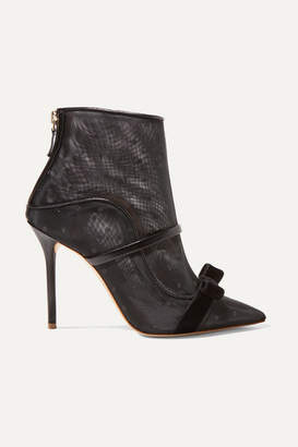 Malone Souliers Claudia 100 Velvet And Leather-trimmed Point D'esprit Mesh Ankle Boots - Black