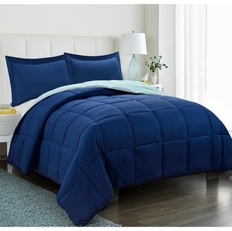 HIG All Season Down Alternative Comforter Set- 3pc Box Stitched Reversible Comforter with Two Shams -Quilted Duvet Insert with Corner Tabs - Hypoallergenic, Supersoft, Wrinkle Resistant - Navy King Size