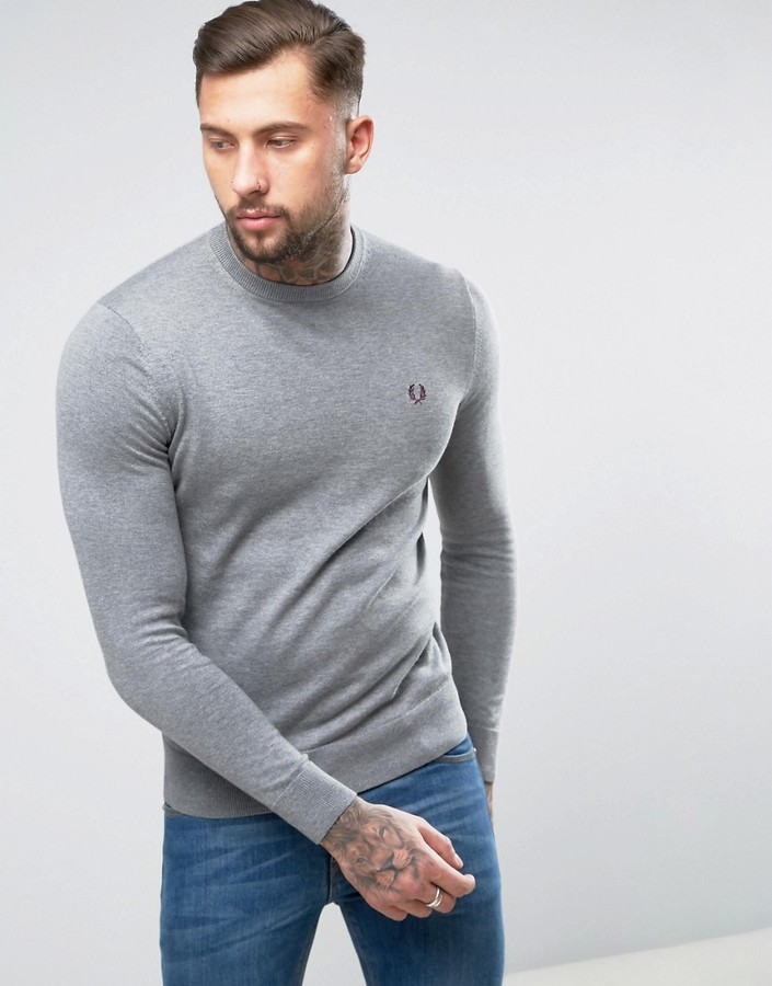 Fred Perry Fred Perry Crew Neck Cotton Sweater in Gray