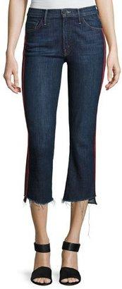 Mother Denim Insider Crop Track-Stripe Jeans with Step Hem, Blue/Red $228 thestylecure.com