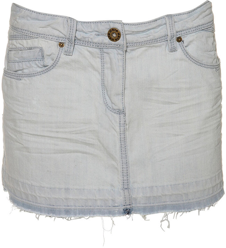 Distressed Denim Cut Off Skirt