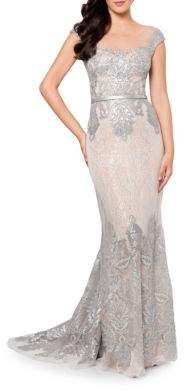 Terani Couture Glamour by Embroidered Mesh Lace Mermaid Dress