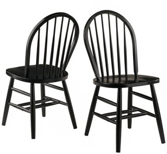 At Winsome Wood Windsor Chair 2 Piece Set Rta Black Finish