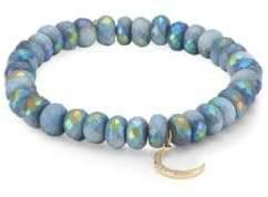 Sydney Evan Moon On Blue 14K Yellow Gold, African Opal& Brown Diamond Beaded Bracelet - Blue