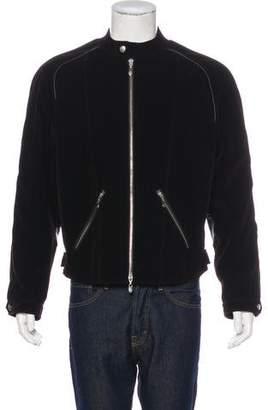 Armani Collezioni Leather-Trimmed Corduroy Jacket