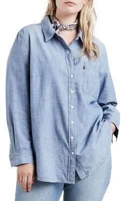 Levi's Plus Ryan Boyfriend Button-Down Denim Shirt