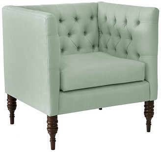 One Kings Lane Churchill Tufted Club Chair - Mint Linen