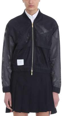 Thom Browne Blue Athletic Mesh Bomber Featuring A Ribbed Collar