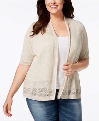 Charter Club Plus Size Open-Front Pointelle Cardigan, Created for Macy's