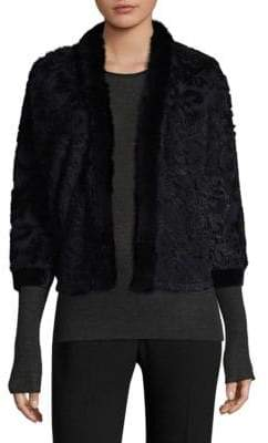 Elie Tahari Allister Rabbit Fur-Trimmed Jacket