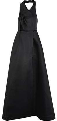 Halston Wrap-Effect Duchesse Satin Halterneck Gown