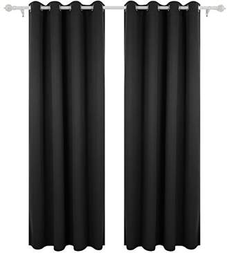 Deconovo Window Blackout Curtains Black Grommet Thermal Insulated Curtain Panel for Living Room 52 By 63 Inch