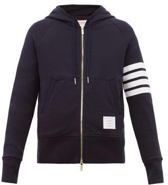 Thom Browne Zip Through Cotton Hooded Sweatshirt - Mens - Navy
